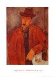 Homme appuyé assis à une table Affiches par Amedeo Modigliani