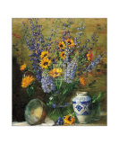 Delphiniums and Chinese Vase Poster by F. Janca