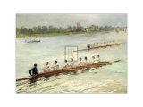 Eights Racing at Putney Art by F Gueldry
