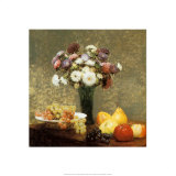 Asters and Fruit Prints by Henri Fantin-Latour