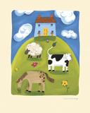 Blue Farmhouse Schilderij van Sophie Harding