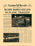 Historic Headlines - Busby Babes Killed in Plane Tragedy, Munich, Poster, London Herald, February 7, 1958