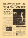 First Man on the Moon Poster London Herald Headline