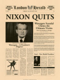 Historic Headlines - Nixon Quits Poster, London Herald, August 9, 1974