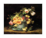 Roses in a Porcelain Bowl Art by Emile Vouga