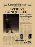 Historic Headlines - Everest Conquered Poster, London Herald, May 29, 1953