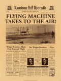 Flying Machine Takes to the Air Poster, London Herald Headline Poster