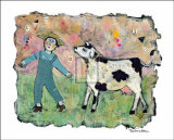 Boy and Cow Posters by Barbara Olsen