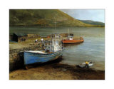 Fishing Boats on Lake Connemara Prints by Clive Madgwick