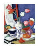 Tulips and Fruit Art by Samuel John Peploe