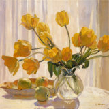 Valeri Chuikov - Yellow Tulips and Apples - Reprodüksiyon