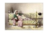 Femme semi allongée Affiches par Achille-Constant-Théodore-Émile Prisse d'Avennes