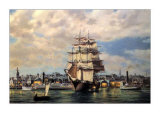 Ocean Monarch, Leaving New York Print by Roy Cross