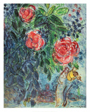 Flowers and Lovers Poster van Marc Chagall