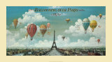 Vol en ballon au dessus de Paris Affiche par Isiah and Benjamin Lane