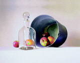 Decorative Bottle with Apples Prints by Peter Colvin