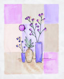 Floral with Modern Vases Art by Josephine French