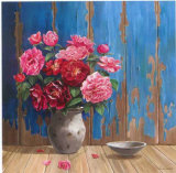 Aged Wood and Roses Print by Karin Valk