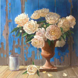 Aged Wood and Peonies Prints by Karin Valk