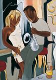Coktail pour white sax Print by Pierre Farel