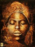 Afrikanische Frau mit halb geöffneten Augen Kunstdruck von Fabienne Arietti