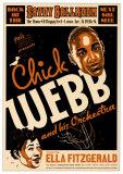 Chick Webb et Ella Fitzgerald - Savoy Ballroom, NYC 1935 Affiches par Dennis Loren