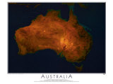 Satellite Map of Australia Poster