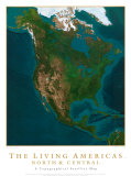 Map of the AmeriSatellite Map- Living Americas: North & Central Art Print