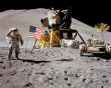 NASA - Astronaut,Rover,Flag On Moon  - ©Spaceshots Prints