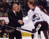Patrick Roy with  Rogatien Vachon 1000th Game Photo