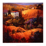 Evening Glow Tuscany Posters af Nancy O'toole