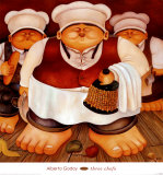 Three Chefs Prints by Alberto Godoy