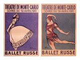 Theatre de Monte Carlo, Ballet Russe Gicléetryck av Jean Cocteau