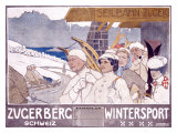 Zugerberg Wintersport Giclee Print by Burkhard Mangold