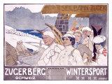 Zugerberg Wintersport Giclee Print by Burkhard Mangold