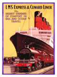 LMS Express and Cunard Liner Giclee Print by P. Erwin Brown