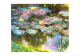 Violet Water Lilies Posters by Claude Monet