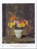 Zinnias And Marigolds Print by Hermann Dudley Murphy