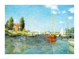 Red Boats at Argenteuil, c.1875 Art by Claude Monet