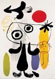 Joan Miró - Postava proti červenému slunci II, c. 1950 Obrazy