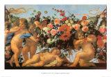 Angels with Garland of Flowers Kunstdrucke von Carlo Maratti