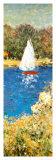 Bassin met zeilboot bij Argenteuil, detail afbeelding Kunst van Claude Monet