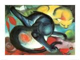 Two Cats Poster von Franz Marc