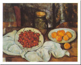 Cherries And Peaches Print by Paul Cézanne
