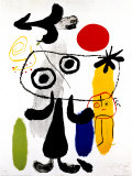 Figur med rød sol II, ca. 1950 Posters af Joan Miró