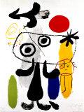 Postać z czerwonym słońcem w tle II, ok. 1950 Plakaty autor Joan Miró