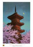Pagode im Mondschein Poster von Kawase Hasui