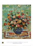 Flowers In A Blue Vase Kunstdrucke von Maurice Brazil Prendergast