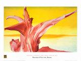 Arbre rouge et ciel jaune Posters par Georgia O'Keeffe