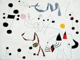 Mujer Sonando en su Evansion, c.1945 Posters av Joan Miró
